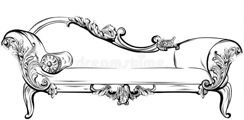 Soffan eller bänken med rik barock smyckar beståndsdelvektorn Kungliga imperialistiska viktorianska stilar vektor illustrationer