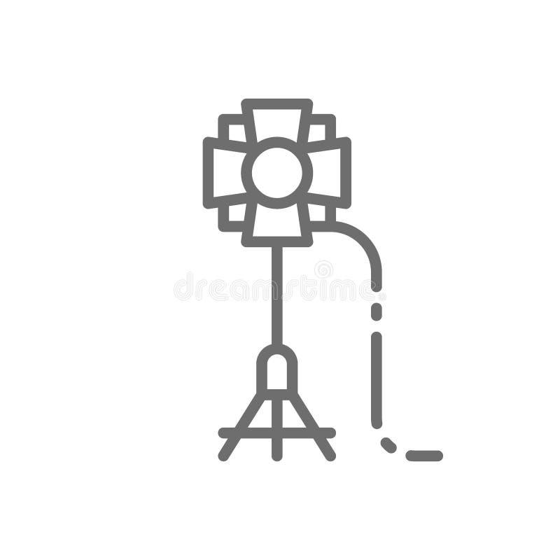 Soffit, camera flashlight spotlight, studio lighting, stage light line icon. vector illustration