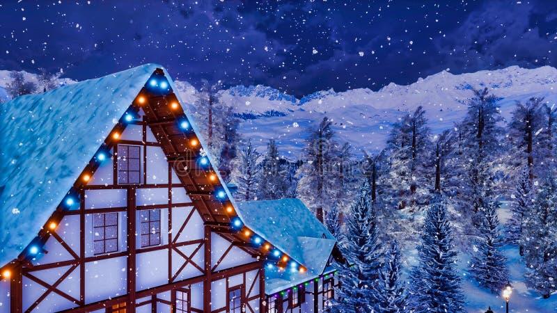 Soffitta alpina a graticcio della casa alla notte di inverno royalty illustrazione gratis