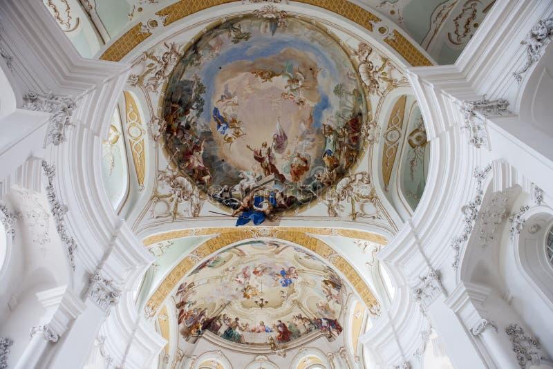 Soffitto Abbey Church Neresheim fotografia stock