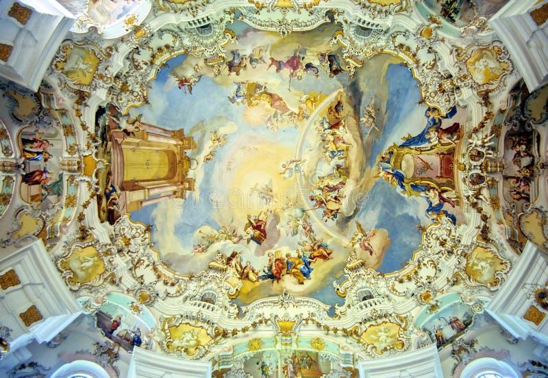Soffitto bavarese della chiesa fotografie stock libere da diritti