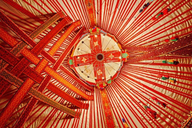 Soffitto del Kazakistan Yurt immagine stock