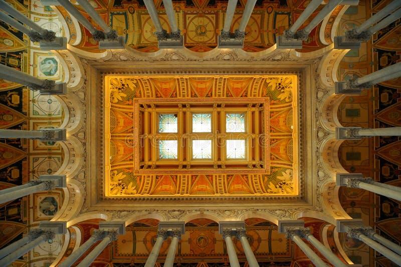Soffitto della Biblioteca del Congresso, Washington, DC fotografie stock