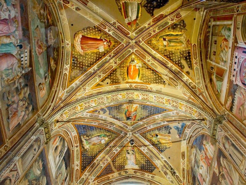 Soffitto della cappella di Castellani in Di Santa Croce della basilica. Firenze, Italia immagine stock