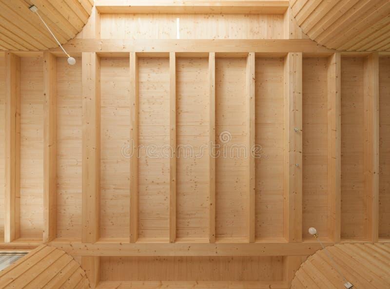 Soffitto di legno con i fasci esposti fotografia stock