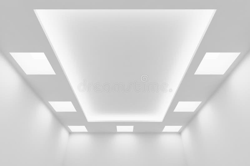 Soffitto di stanza bianca vuota con le luci quadrate illustrazione di stock