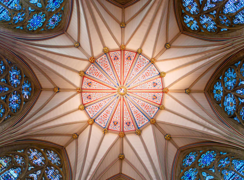 Soffitto medioevale della casa di capitolo fotografia stock libera da diritti