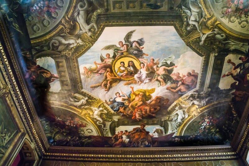 Soffitto nel Corridoio dipinto, vecchio istituto universitario navale reale, Greenwich, Londra fotografia stock