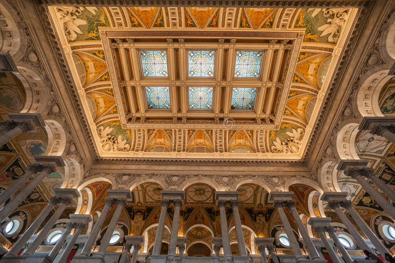 Soffitto Washington della biblioteca del congresso fotografie stock libere da diritti