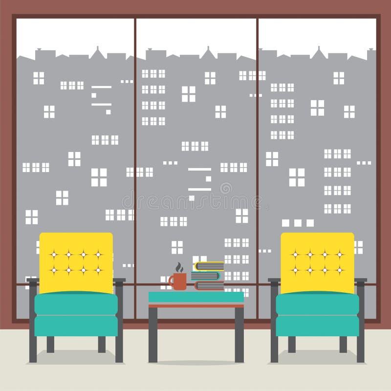 Soffor med böcker i Front Of Wide Glass Window royaltyfri illustrationer