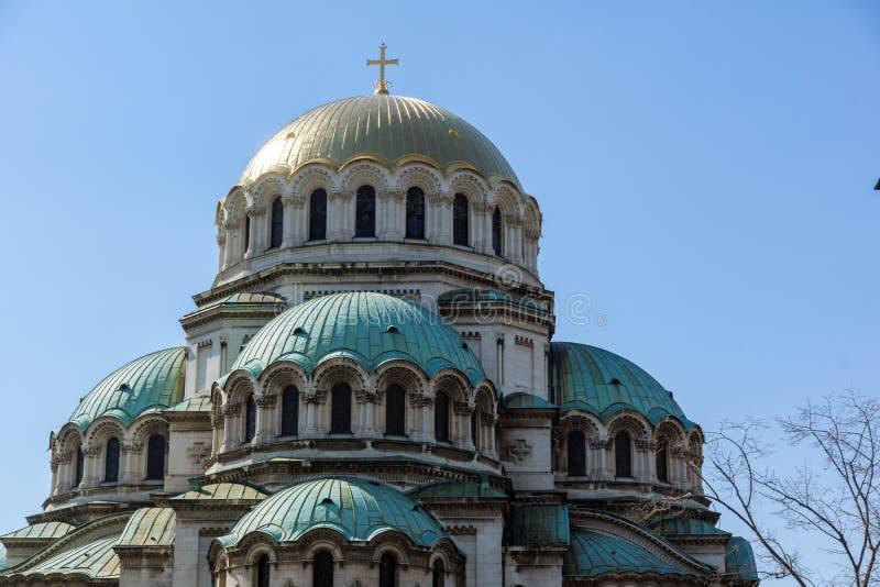 SOFIA, ΒΟΥΛΓΑΡΙΑ - 1 ΑΠΡΙΛΊΟΥ 2017: Οι χρυσοί θόλοι του καθεδρικού ναού Άγιος Αλέξανδρος Nevski στη Sofia στοκ εικόνες