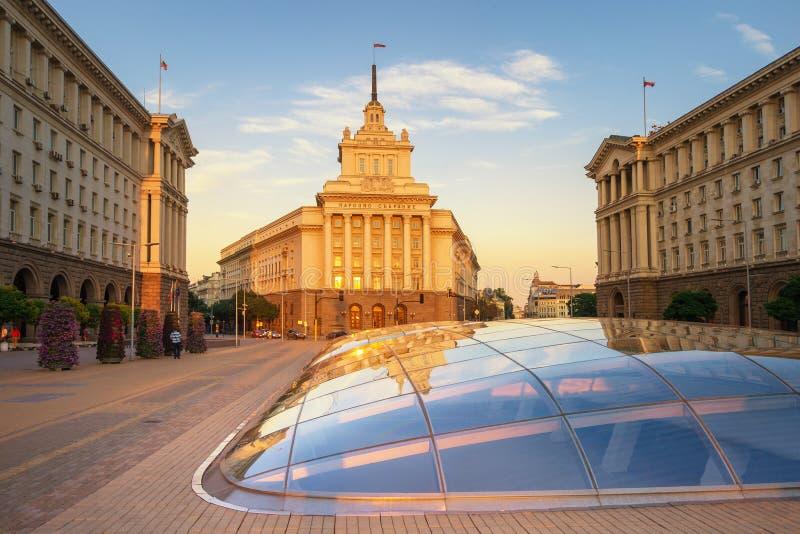 Sofia al tramonto - Bulgaria fotografia stock libera da diritti