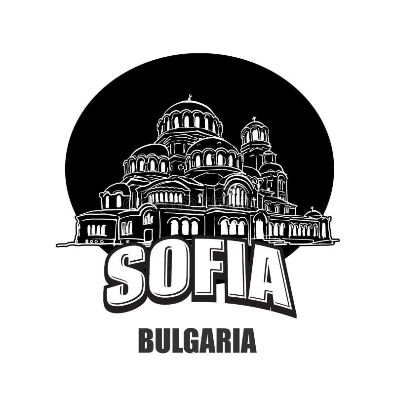 Sofia, Bułgaria, czarny i biały logo ilustracji