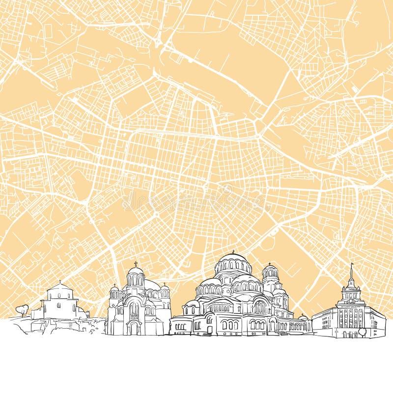 Sofia Bułgaria linii horyzontu mapa ilustracji