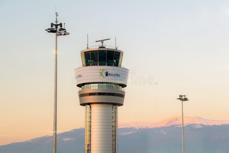 SOFIA BUŁGARIA, Marzec, -, 2019: «Bułgarskiej ruch powietrzny usług władzy «BULATSA centrum kontroli przy Sofia lotniskiem zdjęcia royalty free