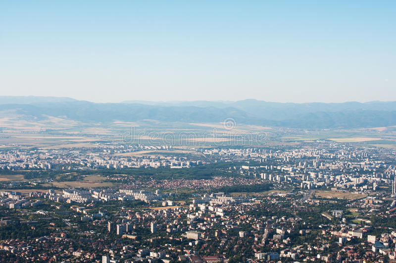 Sofia, Bułgaria od above obraz stock