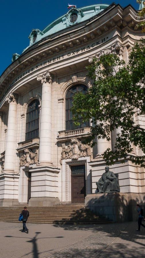 SOFIA BUŁGARIA, PAŹDZIERNIK, - 5, 2018: Fasada uniwersytet Sofia St Kliment Ohridski obraz royalty free