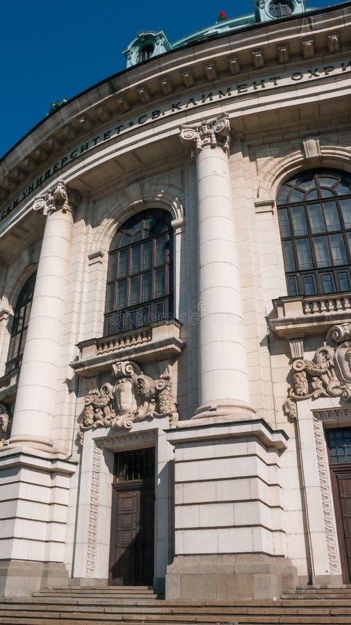 SOFIA BUŁGARIA, PAŹDZIERNIK, - 5, 2018: Fasada uniwersytet Sofia St Kliment Ohridski obraz stock