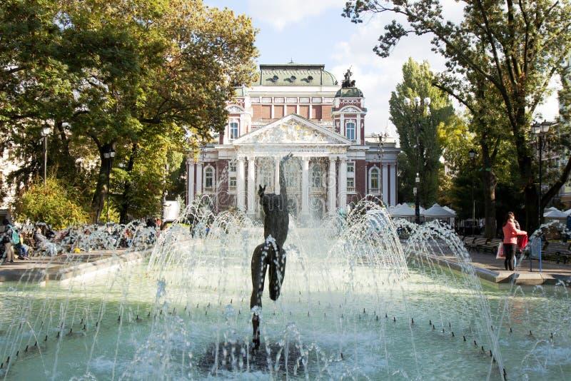 SOFIA BUŁGARIA, PAŹDZIERNIK, - 08, 2017: theatre Ivan Vazov, zakłada zdjęcia royalty free