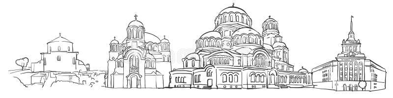 Sofia Bułgaria panoramy nakreślenie ilustracji