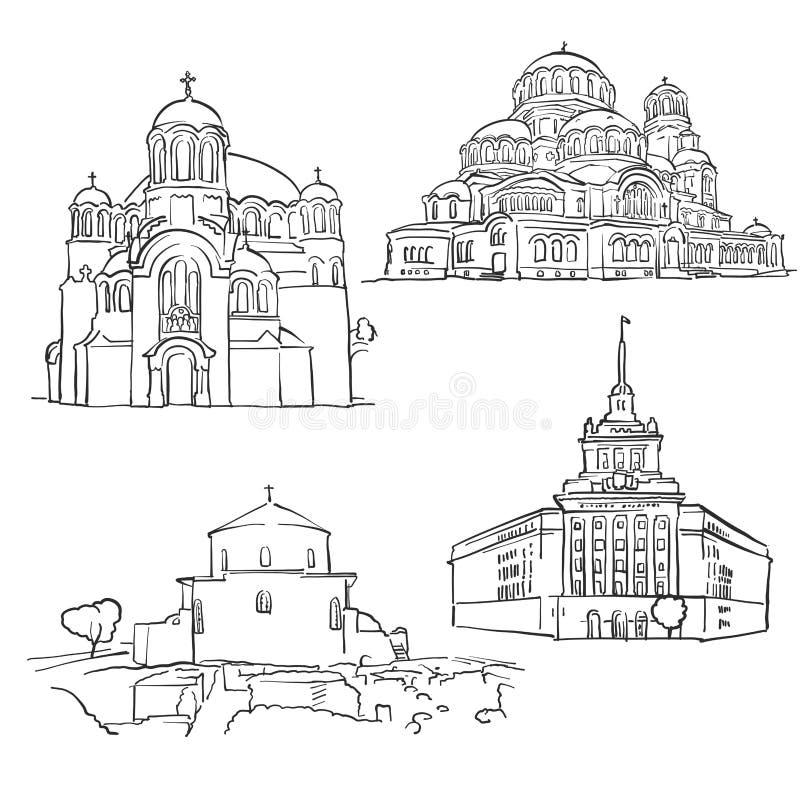 Sofia Bułgaria Sławni budynki royalty ilustracja