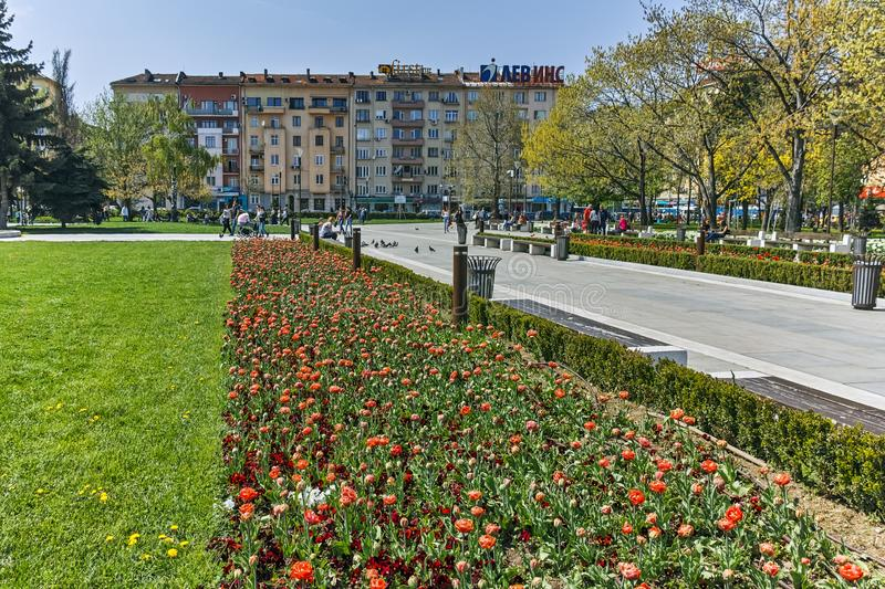 Flower garden and National Palace of Culture in Sofia, Bulgaria stock photos