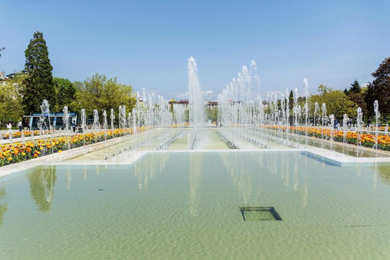 Fountains in front of the National Palace of Culture, Sofia, Bulgaria royalty free stock photos