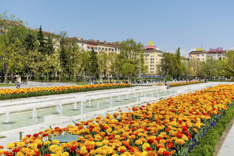 Fountains in front of the National Palace of Culture, Sofia, Bulgaria royalty free stock photography