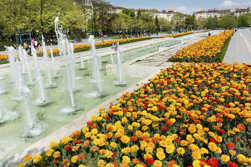 Fountains in front of the National Palace of Culture, Sofia, Bulgaria stock photo
