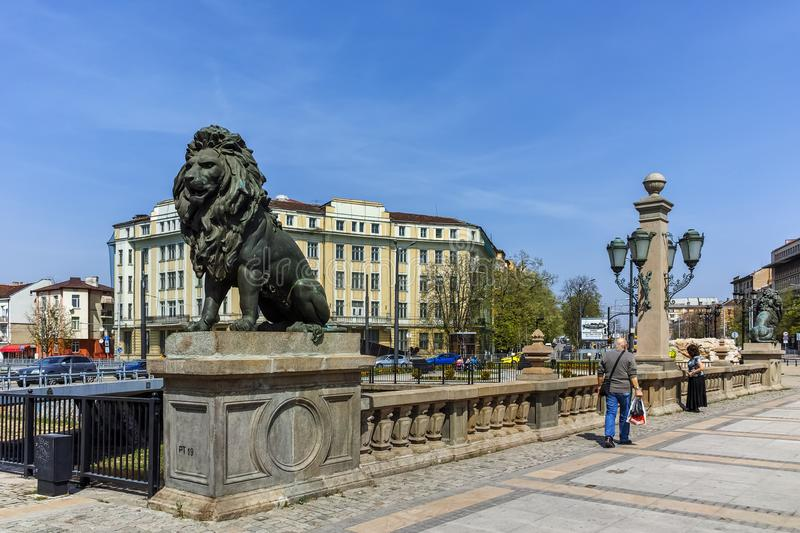 SOFIA, BULGARIA - APRIL 13, 2018: Lion sculpture at Lion`s Bridge over Vladaya river, Sofia royalty free stock photography