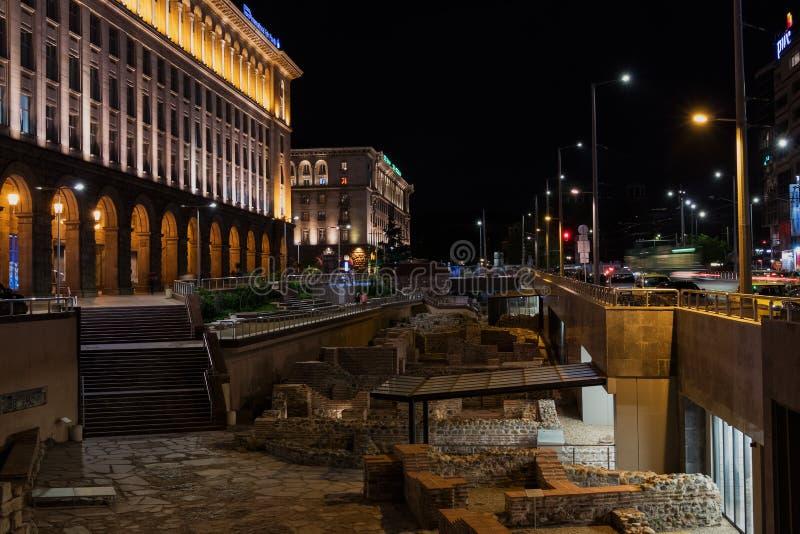SOFIA, BULGARIA - APRIL 27, 2018: Night view of the City centre of Sofia. Old ruins of Ancient Serdika royalty free stock photos