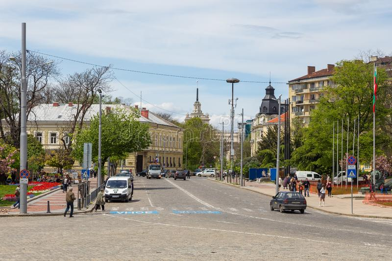 View from Sveti Aleksandar Nevski Square on the buildings of the old city, Sofia, Bulgaria. Sofia, Bulgaria- 30 April 2015: View from Sveti Aleksandar Nevski royalty free stock image
