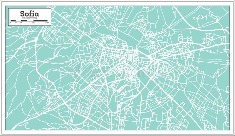 Sofia Bulgaria City Map nel retro stile Illustrazione in bianco e nero di vettore illustrazione vettoriale