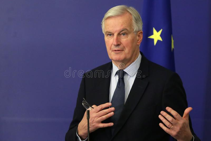 European Commission`s Brexit negotiator Michel Barnier. Sofia, Bulgaria - 19 December 2017: European Commission`s Brexit negotiator Michel Barnier speaks at a stock photo