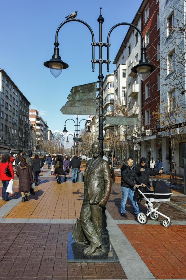 SOFIA, BULGARIA - FEBRUARY 5, 2017: Walking people on Boulevard Vitosha in Winter in city of Sofia stock photo