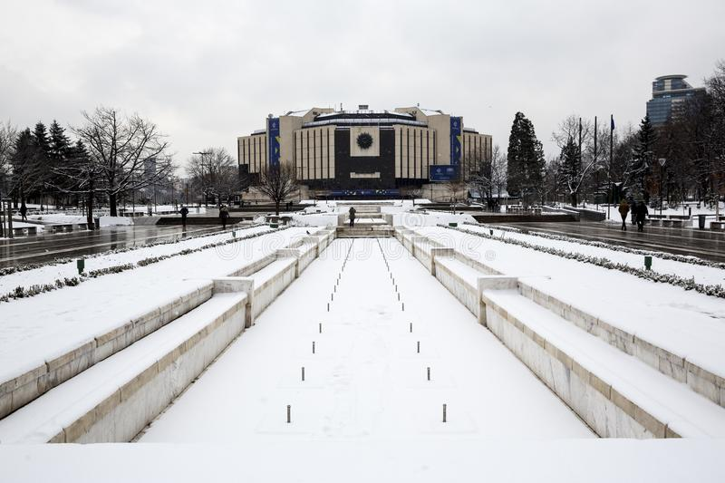 National Palace of Culture NDK winter. Sofia, Bulgaria - 15 January 2018: National Palace of Culture NDK is seen in a snowy day. The building is the main event stock photos