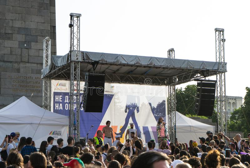 Sofia, Bulgaria / June 10 2019: LGBT pride festival. Concert in the pride party in Sofia, Bulgaria with Bulgarian pop-folk diva royalty free stock image