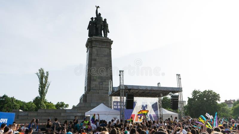 Sofia, Bulgaria / June 10 2019: LGBT pride festival. Concert in the pride party in Sofia, Bulgaria with Bulgarian pop-folk diva royalty free stock photos