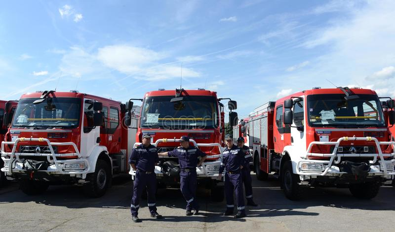 Sofia, Bulgaria - June 9, 2015: New fire trucks are presented to their firefighters stock photo