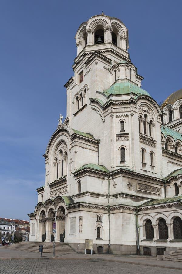 Amazing view of Cathedral Saint Alexander Nevski in Sofia, Bulgaria. SOFIA, BULGARIA - MARCH 7, 2019: Amazing view of Cathedral Saint Alexander Nevski in Sofia royalty free stock images