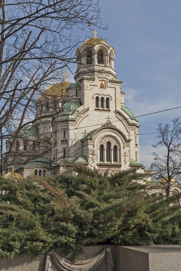 SOFIA, BULGARIA - MARCH 7, 2019: Amazing view of Cathedral Saint Alexander Nevski in Sofia, Bulgaria stock photo