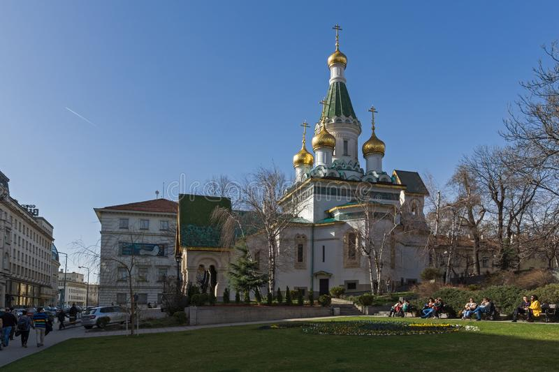Amazing view of Golden Domes Russian church in Sofia, Bulgaria. SOFIA, BULGARIA - MARCH 17, 2018: Amazing view of Golden Domes Russian church in Sofia, Bulgaria stock images
