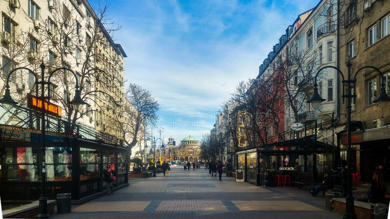 Sofia, Bulgaria - March 11, 2019: Sofia pedestrian walking street on a sunny day. Sofia, Bulgaria - March 11, 2019: Sofia pedestrian walking street in the city royalty free stock photos