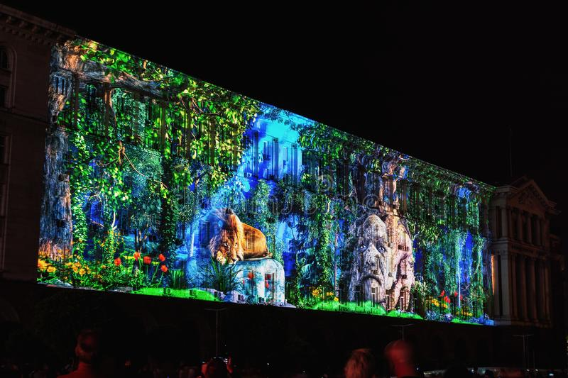 SOFIA, BULGARIA - MAY 9, 2018: Building of Council of Ministers in Sofia, Bulgaria. 3D Projection Mapping for the Day of Europe royalty free stock photography