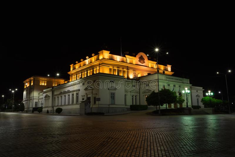 SOFIA, BULGARIA - MAY 7, 2018: National assembly, Bulgarian parliament in Sofia, Bulgaria at night stock photos