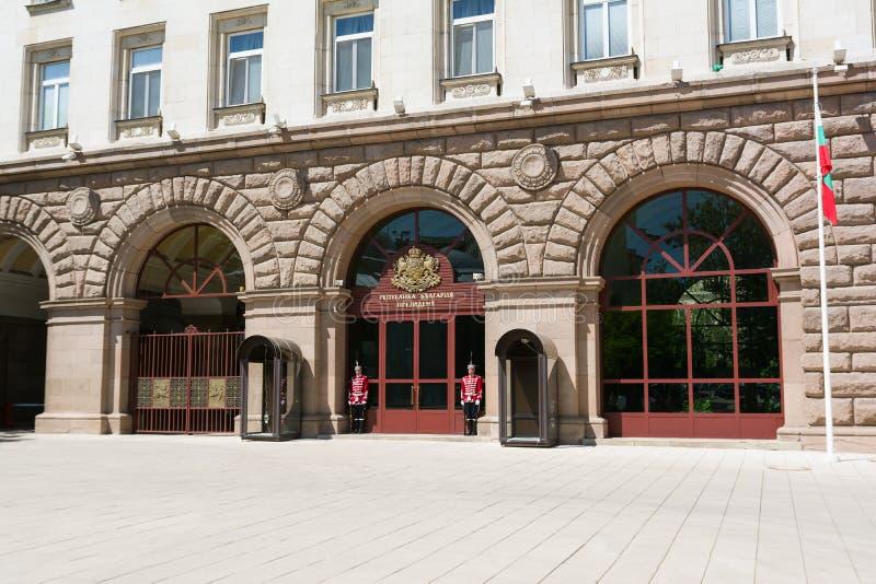 SOFIA, BULGARIA - MAY 1, 2018: The Presidency building in Sofia, Bulgaria. The main entrance of Presidency. royalty free stock photo
