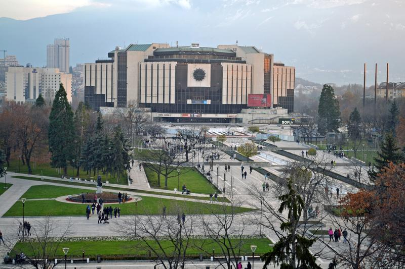 Sofia / Bulgaria - November 2017: Balcony view of the National palace of culture NDK, the largest, multifunctional conference stock photography