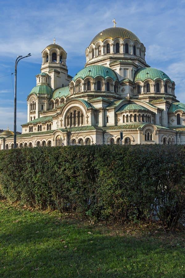 Golden Domes of Cathedral Saint Alexander Nevski in Sofia, Bulgaria. Sofia, Bulgaria - November 7, 2017: Golden Domes of Cathedral Saint Alexander Nevski in stock photography