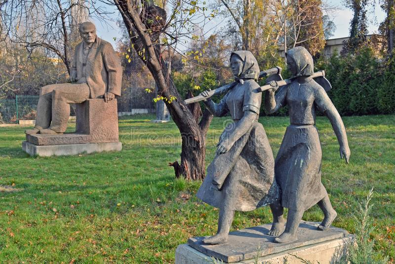 Sofia / Bulgaria - November 2017: Soviet-era statues in the museum of socialist art stock photography