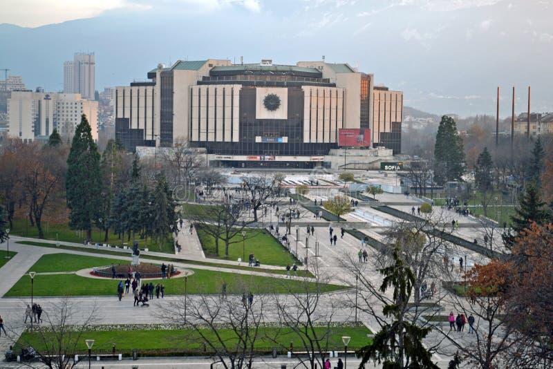 Sofia/Bulgaria - novembre 2017: Vista del balcone del palazzo nazionale di cultura NDK, la pi? grande, conferenza multifunzionale fotografia stock